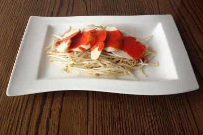 Chicken on Beansprouts with Barbecue Sauce