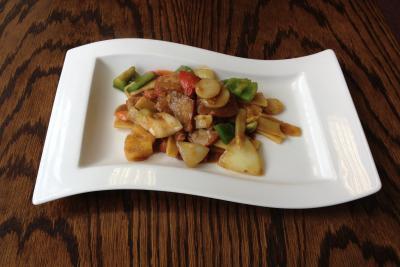 Roast Pork with Vegetables and Szechuan Sauce