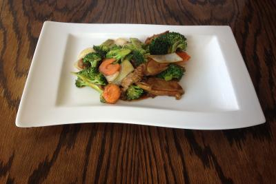 Roast Duck with Broccoli Spears  Oyster Sauce